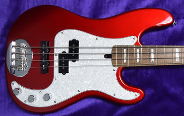 "Lakland Skyline 44-64 Custom Precision Bass (1.5"" Jazz Taper Neck) , Candy Apple Red w/ Laurel Board"