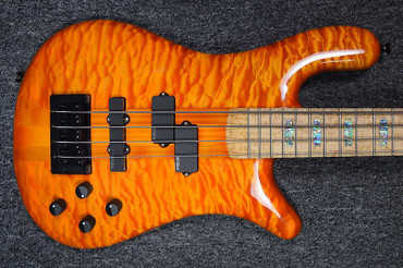 Spector USA NS-2,  Amber Stain Gloss over Quilt Maple w/ Birdseye Maple Board *NOT Pre-Owned