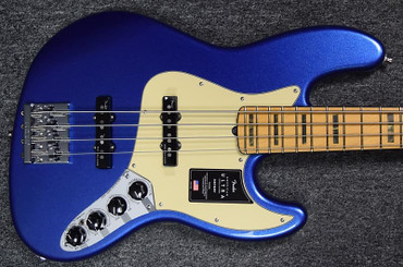Fender American Ultra Jazz Bass, Cobra Blue with Maple Fingerboard and Active Electronics.