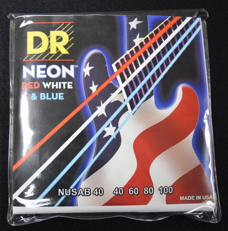 DR Neon Red-White-Blue Bass Strings, 40-100