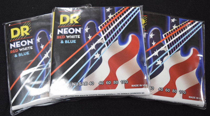 DR Neon Red-White-Blue Bass Strings, 40-100 *3 Pack Special, FREE Shipping!