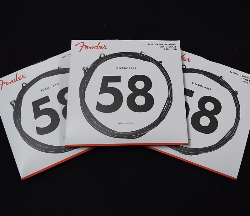 Fender Nylon Tapewound Bass Strings, 58-110 Long Scale ***3-Pack Special with FREE SHIPPING!