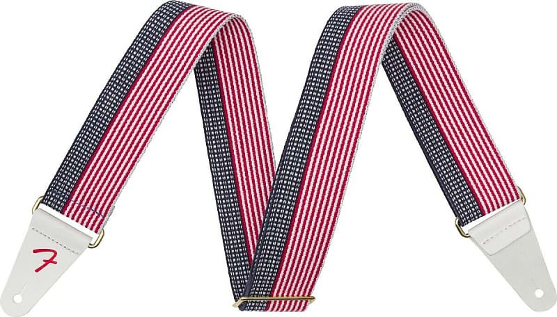 "Fender USA 2"" Cotton Strap, RED / WHITE / BLUE"