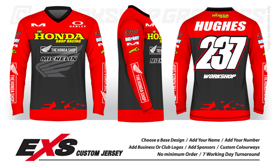 EXS Custom Jersey Design for Honda Shop Racing