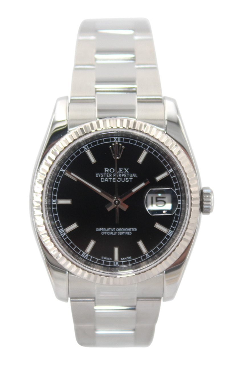 Rolex Oyster Perpetual Datejust 36mm Stainless Steel Black Stick Dial Fluted Bezel Oyster Bracelet Ref 116234