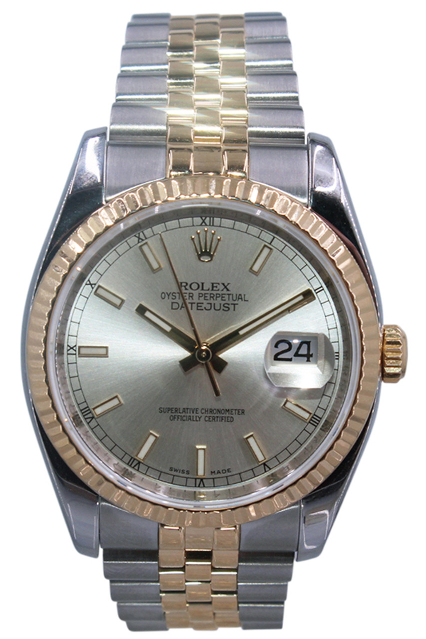 Rolex Oyster Perpetual Datejust 36mm Two Tone Fluted Bezel Silver Stick Dial Jubilee Bracelet Re 116233