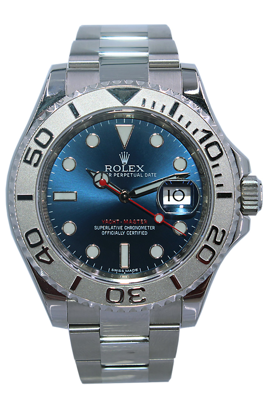 Rolex Oyster Perpetual Yacht,Master , 40mm , Platinum Bezel , Blue Dial ,  Oyster Bracelet , Ref. 116622