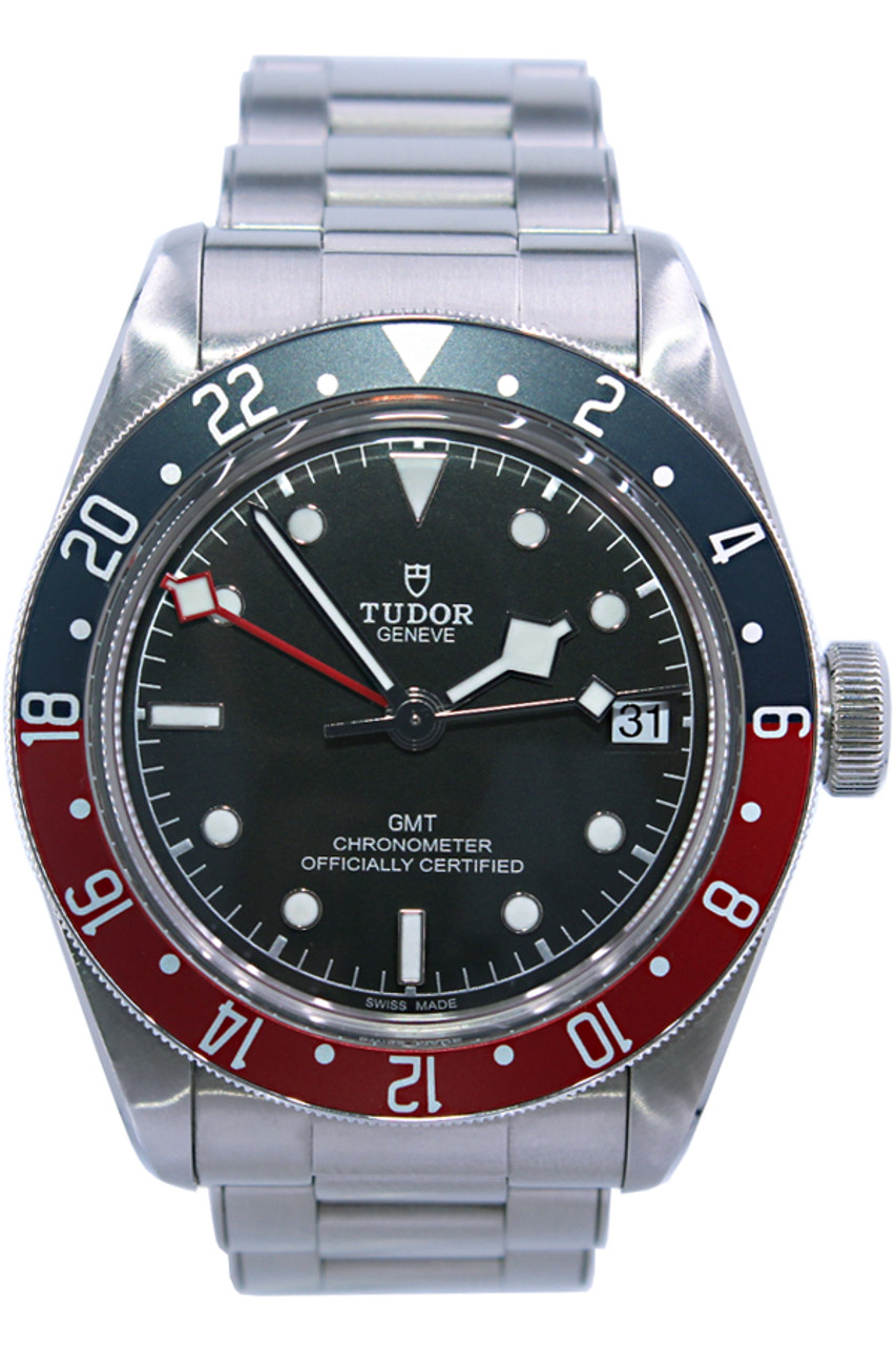 Tudor Black Bay Pepsi Gmt 41mm Stainless Steel Blue And Red Bezel Black Dial Ref M79830rb 0001