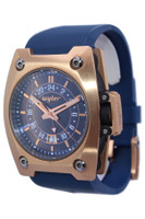 Wyler Men's 18K Rose Gold Code R Limited Edition Automatic GMT - Blue Dial and Blue Rubber Strap - Ref. 200.2.00.BB1.RBA