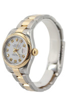 Rolex Oyster Perpetual Datejust-26mm-Two Tone-White Diamond Dial-Smooth Bezel-Oyster Bracelet-Ref.179163