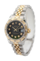 Rolex Oyster Perpetual Lady Datejust - 26mm- Two Tone - Black Diamond Dial - Fluted Bezel Set With 12 Diamonds - Jubilee Bracelet - Ref. 179313