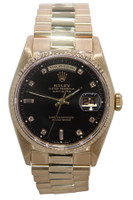 Rolex Oyster Perpetual Day-Date Presidential - 36mm - 18k Yellow Gold - Black Diamond Dial - Fluted Bezel - Ref. 18238