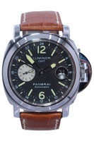 Panerai - 44mm - Stainless Steel - Stainless Steel - Black Dial - Automatic - GMT - Leather Strap - Ref. Pam 88