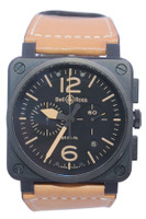 Bell & Ross - Heritage - 42mm - PVD - Black Dial - Leather Strap - Automatic - Chronograph Ref.  BR03-94