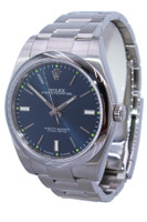 Rolex Oyster Perpetual - 39mm - Stainless Steel - Smooth Bezel - Blue Index Dial - Oyster Bracelet - Ref. 114300