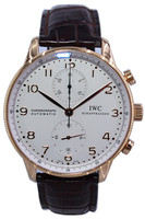 IWC Portuguese - 40mm - 18k Rose Gold -  Silver Arabic Dial - Chronograph - Brown Leather Strap - Ref. IW371480