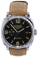 Panerai - Radiomir 1940 GMT - 44mm - Stainless Steel - Black Tapestry Dial - Leather Strap - Automatic - Ref. Pam 657