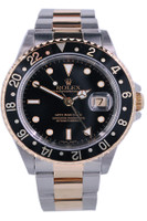 Rolex Oyster Perpetual GMT-Master II - 40mm - Stainless Steel - Unidirectional Rotatable Yellow Gold with Black Insert Bezel - Black Dial - Two-Tone Oyster Bracelet - Ref. 16713