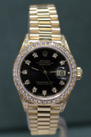 Rolex Oyster Perpetual Ladies Datejust President - 26mm - 18k Yellow Gold - Diamond Bezel - Black Diamond Dial - 18k Yellow Gold President Bracelet - Ref. 69158