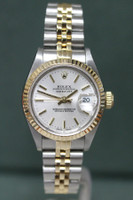 Rolex Oyster Perpetual Ladies Datejust - 26mm - Two-Tone - Yellow Gold Fluted Bezel - Silver Dial - Two-Tone Stainless Steel And Yellow Gold Jubilee Bracelet - Ref. 69173