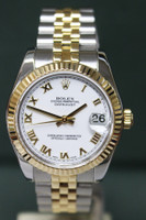 Rolex Oyster Perpetual Mid-Size Datejust - 31mm - Two-Tone - Yellow Gold Fluted Bezel - White Roman Dial - Two-Tone Jubilee Bracelet - Ref. 178273