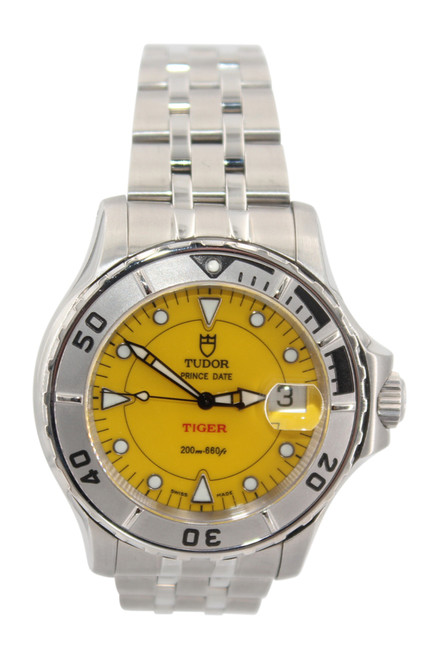 Tudor Tiger Prince Date Hydronaut Stainless Steel - Yellow Dial - Ref. 89190