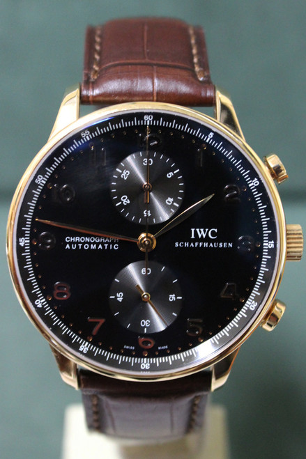 IWC 18K Rose Gold Portuguese Chronograph Automatic - Black Dial - Ref. IW3714-15