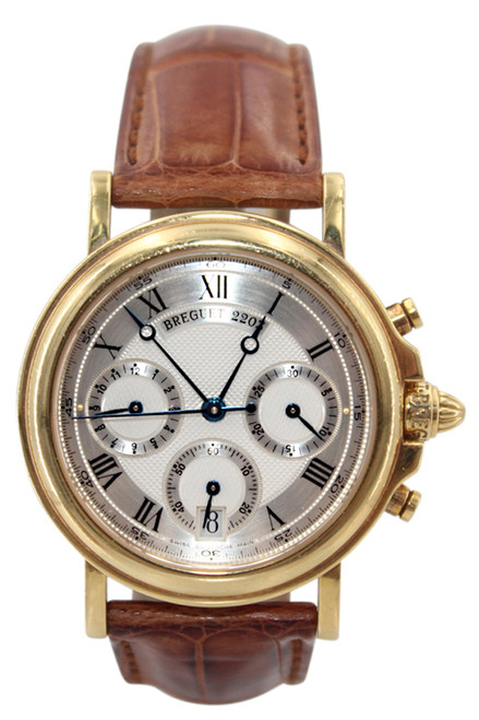 Breguet Men's Solid 18K Yellow Gold Marine Chronograph - Silver Dial - Ref. 3460