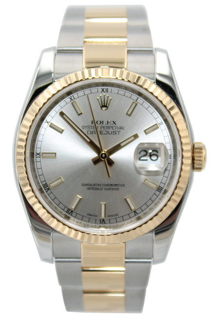 Rolex Oyster Perpetual Datejust - 36mm- Two Tone - Silver Index Dial - Fluted Bezel - Oyster Bracelet - Ref. 116233