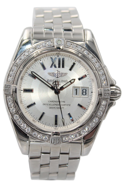 Breitling Windrider Cockpit - 40mm - Stainless Steel - Silver Stick Dial - Diamond Bezel - Ref. A49350