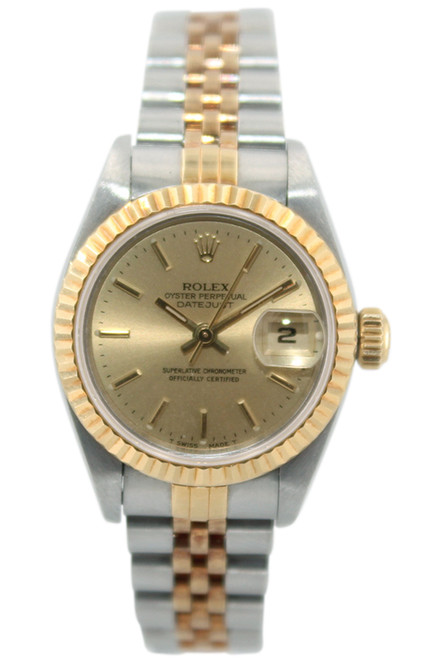 Rolex Oyster Perpetual Lady Datejust - 26mm - Two Tone - Champagne Index Dial - Fluted Bezel - Jubilee Bracelet - Ref. 69173