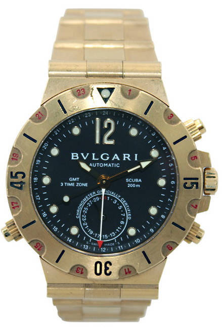 Bvlgari DIAGONO Professional Scuba GMT - 40mm - 18k YG - Black Dial - Automatic - Ref.  SD.38G