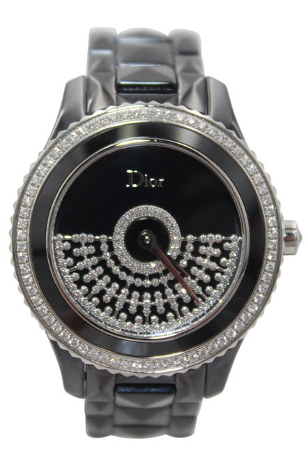 DIOR VIII GRAND BAL RESILLE - 38mm - Black Cramic - Diamond Bezel - Black Dial - Automatic - Ref. CD124BE3C001