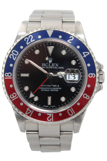 """Rolex Oyster Perpetual Date GMT-Master II - 40mm - Stainless Steel - Blue and Red """"Pepsi"""" Insert - Black Dial - Ref. 16710"""