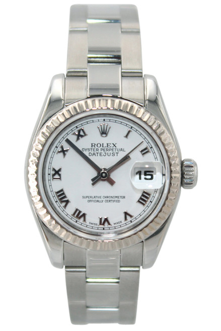Rolex Oyster Perpetual Lady-Datejust - 26mm - Stainless Steel - White Roman Dial - Fluted Bezel - Oyster Bracelet - Ref. 178274
