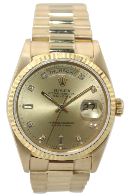 Rolex Oyster Perpetual Day-Date Presidential - 36mm - 18k YG - Champagne Diamond Dial - Fluted Bezel - Ref. 18238