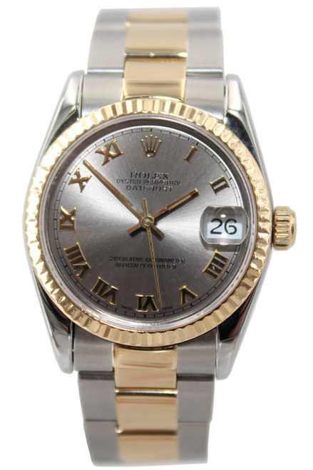 Rolex Oyster Perpetual Datejust - 31mm - Two Tone - Silver Roman Dial - Fluted Bezel - Oyster Band - Ref. 68273
