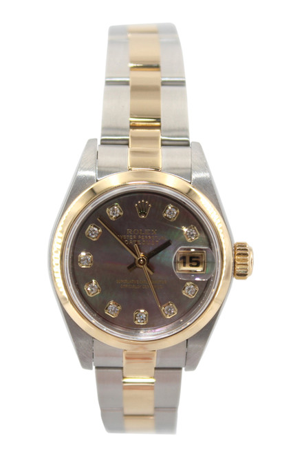Rolex Oyster Perpetual Lady Datejust - 26mm - Two Tone - Dark MOP Diamond Dial - Smooth Bezel - Oyster Bracelet - Ref. 79173
