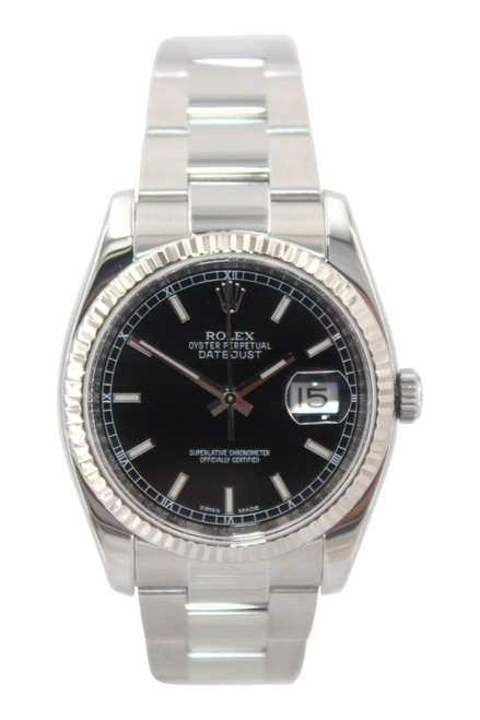 Rolex Oyster Perpetual Datejust - 36mm - Stainless Steel - Black Stick Dial - Fluted Bezel - Oyster Bracelet- Ref. 116234
