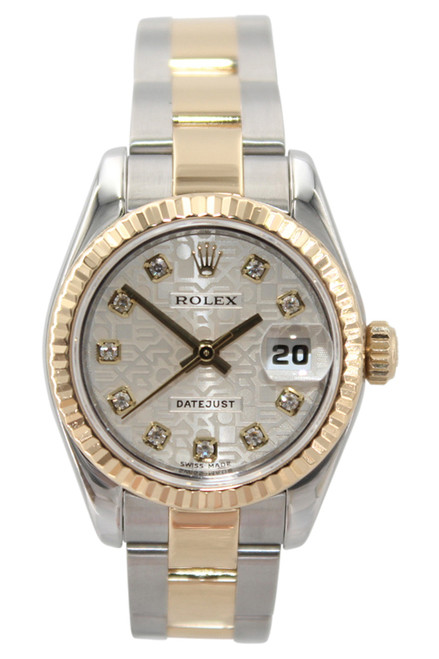 Rolex Oyster Perpetual Lady Datejust - 26mm - Two Tone - Silver Jubilee Diamond Dial - Fluted Bezel - Oyster Bracelet - Ref. 179173