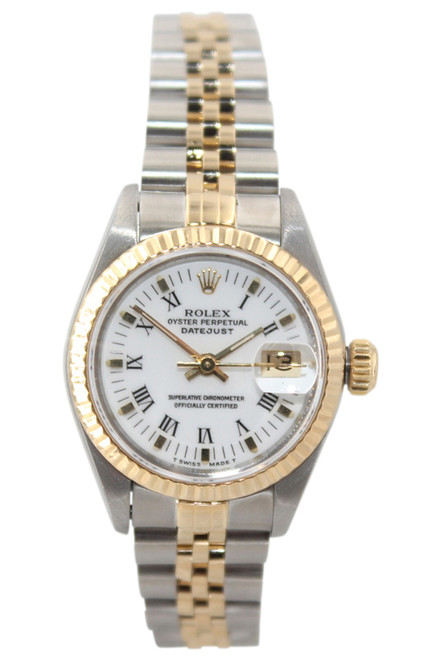 Rolex Oyster Perpetual Lady Datejust -26mm - Two Tone - White Roman Dial - Fluted Bezel - Jubilee Bracelet - Ref. 69173