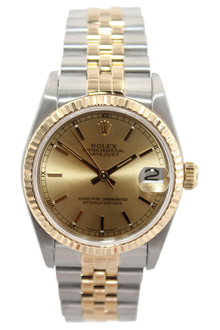 Rolex Oyster Perpetual Datejust - 31mm - Two Tone - Champagne Stick Dial - Fluted Bezel - Jubilee Bracelet - Ref. 68273