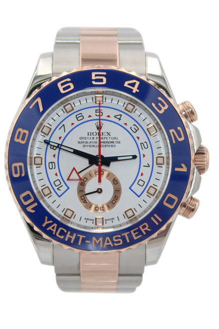 Rolex Oyster Perpetual Yacht-Master II - 44mm - Steel and Rose Gold - White Dial - Blue Bezel - Ref. 116681