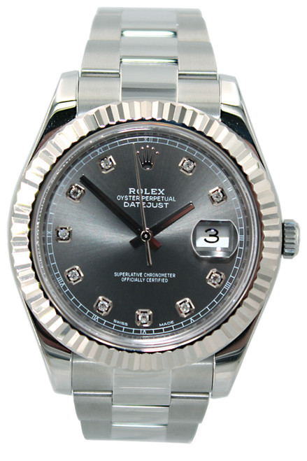 Rolex Oyster Perpetual Datejust II - 41mm - Stainless Steel - Fluted Bezel - Rhodium Diamond Dial - Oyster Bracelet - Ref. 116334