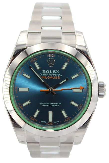 Rolex Oyster Perpetual Milgauss - 40mm - Stainless Steel - Blue Dial - Green Crystal - Ref. 116400