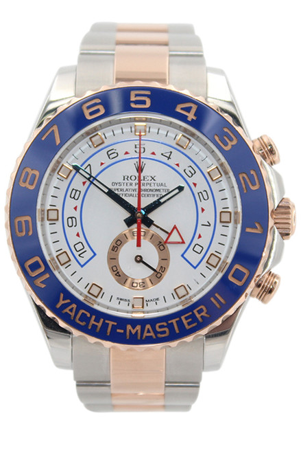 Rolex Oyster Perpetual Yacht-Master II - 44mm - Steel and Rose Gold - White Dial - Blue Ceramic Bezel - Ref. 116681