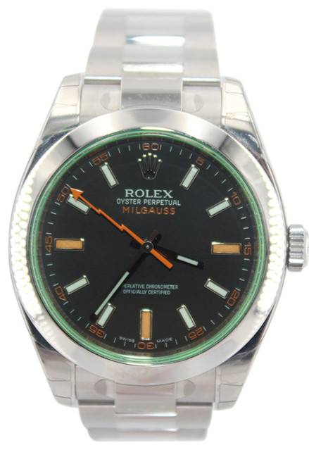 Rolex Oyster Perpetual Milgauss - 40mm - Stainless Steel - Black Dial - Green Crystal - Ref. 116400