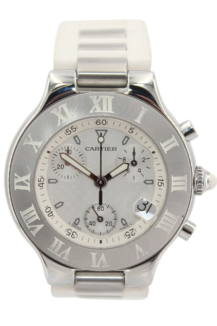 Cartier Must 21 - 38mm - Stainless Steel - White Dial - Chronograph - Quartz - White Rubber Strap - Ref. W10184U2