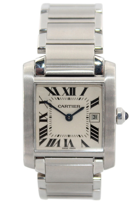 Cartier Tank Francaise - Midsize - Stainless Steel - White Roman Dial - Ref. W51011Q3