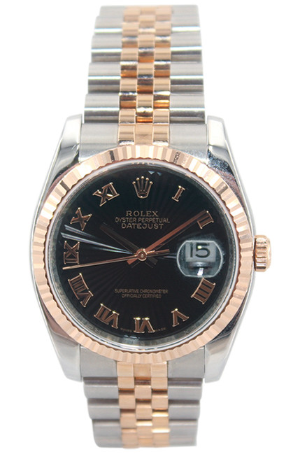 Rolex Oyster Perpetual Datejust - 36mm - 18k RG/Stainless Steel - Black Sun-ray Dial - Fluted Bezel - Jubilee Bracelet - Ref. 116231